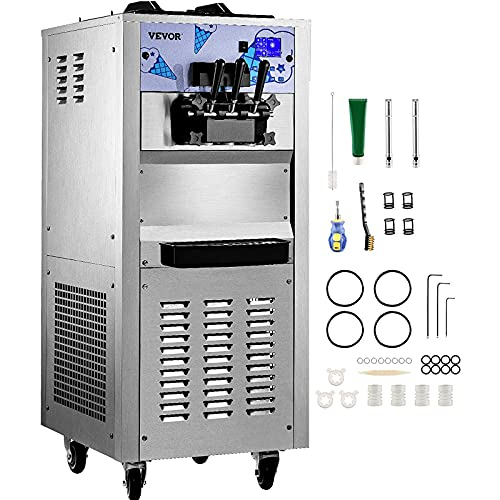 VEVOR Commercial Ice Cream Machine with Two 12L Hoppers Soft Serve Machine with 3 Flavors Commercial Ice Cream Maker 2500W Compressor Soft Ice Cream Machine with LCD Panel for Restaurants Snack Bar