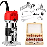 800W Compact Palm Wood Router Kit,110V Portable Edge Banding Trim Router for Woodworking Handicraft and DIY,Wood Router with 15pcs Router Bits (red milling cutters)