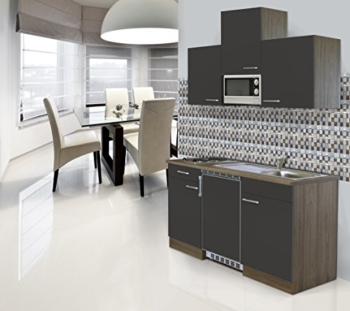 respekta Einbau Single Küche Küchenblock 150cm Eiche York Nachbildung Grau Ceran