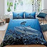 Bettbezug-Set mit Hai-Motiv, für Kinder, Jungen, Mädchen, Teens, Sealife, Unterwasserwelt, Meerestiere, Schlafzimmer, Dekoration, 2-teilig, Tagesdecke, Doppelbett-Größe