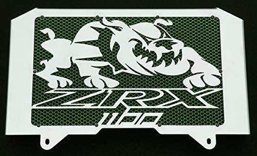 Kühlerverkleidung/Kühlerabdeckung polierten Edelstahl für 1100 ZRX 1998>2000 Design «Bulldog» + grüner Schutzgitter