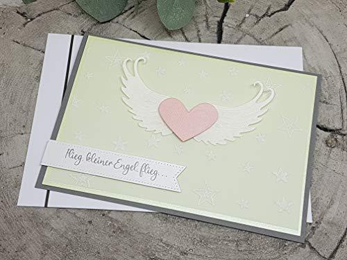 Trauerkarte für Sternenkinder geflügeltes Herz inkl. Umschlag, hellgrün