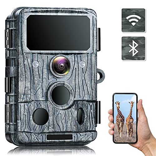 4K Native Wildlife Camera - WiFi Trail Camera 30MP with 940nm No-Glow IR LEDs Night Vision Wifi Wildlife Camera Motion Activated Bluetooth Trap Camera Waterproof IP66 for Gardens Wildlife Tracking