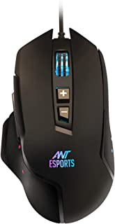 Ant Esports GM300 RGB Gaming Mouse with Optical Sensor 1000 Hz Polling Rate 4800 Dpi for FPS and MOBA Games - Black (GM 300)