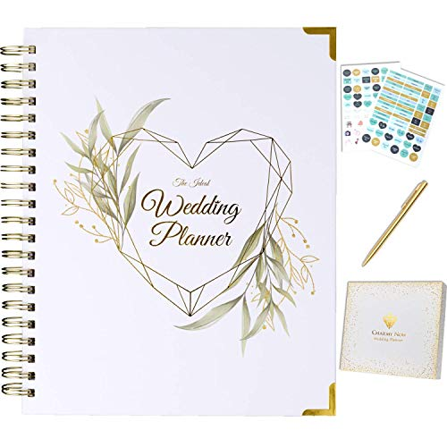 Wedding Planner Book and Organizer for The Bride - Gold Kit - Engagement Gift for Couples - Bride to Be Gifts for Her - Future Mrs Wedding Planning Book with Hard Cover, Pockets & Online Support