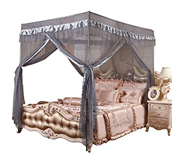 Mengersi Simple 4 Corners Post Curtain Bed Canopy Bed Frame Canopies Net- 4 Openings-Bedroom Decoration Accessories Full Gray