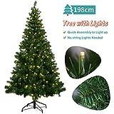 OUSFOT Weihnachtsbaum Künstlich 198cm mit 320er LED Lichterkette 8 Beleuchtungsmodi Schnellaufbau Material PVC inkl. Metallständer Warmweiß