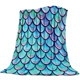 Clouday Flannel Fleece Bed Blankets Lightweight Cozy Throw Blanket for Sofa Couch Chair Bedroom,Mermaid Fish Scale Prints Blanket for Adults Kids,Twin Size,39x49inch