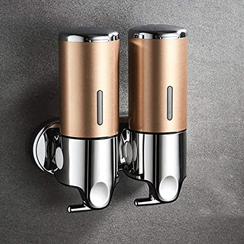 NBXLHAO Dispensadores de Ducha Dispensador de jabón líquido montado en la Pared Accesorios de baño Champú de plástico Dispensadores de jabón de Mano Dispensador jabón,Oro,Double Head