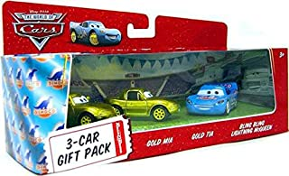 Disney / Pixar CARS Movie 1:55 Die Cast Cars 3-Car Gift Pack Bling Bling McQueen, Gold Mia and Gold Tia