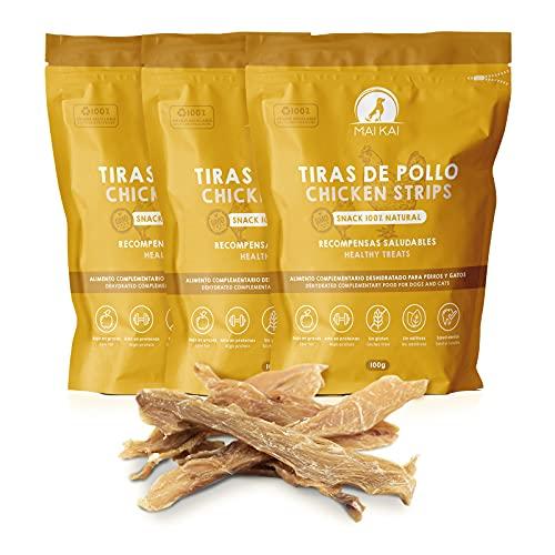 MAIKAI - Chuches Naturales sin aditivos Perros y Gatos - 3 Bolsas de premios Naturales - Tiras de Pollo 3X 100g Unidades - Dieta Barf - Pechugas de Pollo deshidratadas. Golosinas saludables