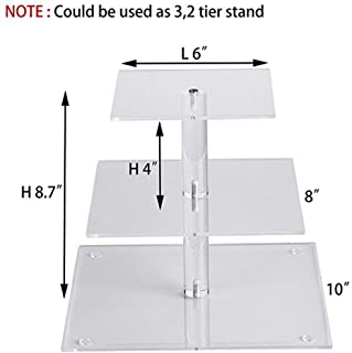 BATEER Multi-layer Square Acrylic Cupcake Tower Stand Cake Dessert Display Stand for Wedding Party