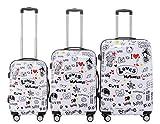 BEIBYE Polycarbonat Hartschale Koffer 2060 Trolley Reisekoffer Reisekofferset Beutycase 3er oder 4er Set (Love)