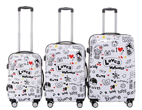 BEIBYE Reisekoffer Hartschalen Hardcase Trolley Zahlenschloss Polycarbonat Set-XL-L-M- Beutycase (Love, 3er Set(XL+L+M))