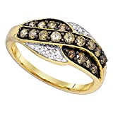 Sonia Jewels Size 9-10K Yellow Gold Chocolate Brown & White Round Diamond Fashion Ring - Channel Setting (.57 cttw.)