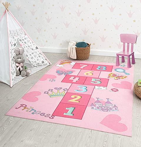the carpet Happy Life - Alfombra de juegos para habitación infantil, lavable, diseño de números, color rosa, 120 x 160 cm