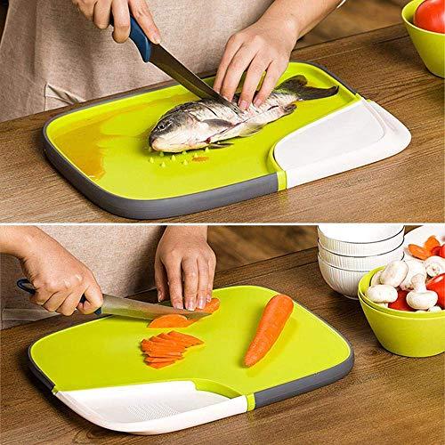 PPuujia Tabla de cortar de doble cara antideslizante para cocina, tabla de cortar plegable con coladores, tablas de cortar de cocina, cesta de lavado (color: verde, tamaño: 37,5 x 28 x 2,3 cm)