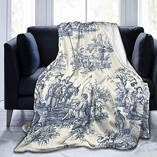 Toile De Jouy - Manta suave y cálida para cama, sofá, oficina, sala de estar, decoración del hogar, 127 x 152 cm