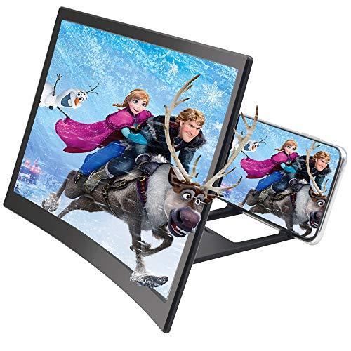 FA.cbj3 Lupa de pantalla curvada de 12 pulgadas, , para películas, vídeos y juegos, soporte para teléfono portátil con lupa de pantalla, compatible con todos los smartphones (negro)