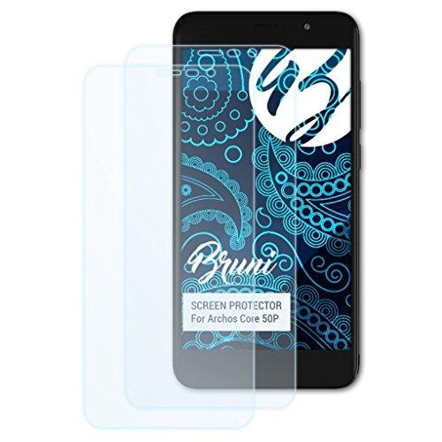 Bruni Schutzfolie kompatibel mit Archos Core 50P Folie, glasklare Bildschirmschutzfolie (2X)