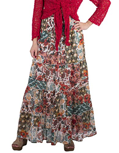Falda Larga con algodón doblado Volando Falda Larga Impresa Parche Falda de algodón Largo Alineada Estilo Indio Boho Hippie étnico (Ecru, Talla única)