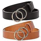 BESTZY Cinturon Mujer 2 pcs Cinturón de Hebilla Redonda de Doble Moda Cinturón de Cuero Para Mujer Para Vestido de Jeans