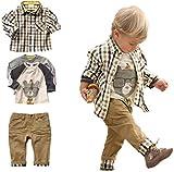 SOPO Kleinkind Jungen Casual 3-teiliges Set (T-Shirt + kariertes Hemd + Khaki Hose) 90/2-3 Jahre