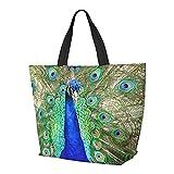 FJJLOVE Bolso de hombro Bolso de gran capacidad de pavo real azul indio Bolso de mano ligero Bolso de playa de viaje para mujer