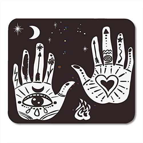 Gaming Mouse Pad Tattoo Verzierte Hände Heilige Symbole in der böhmischen Augenpalme Zeichnung Mond Rechteck Maus Matte rutschfeste Gummibasis MousePads für Computer, Laptop