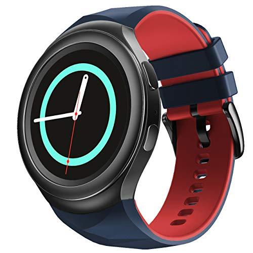 NotoCity Compatible con Samsung Gear S2 Pulsera de Silicona Correa de Reloj de Repuesto Deportivo para Samsung Gear S2 Smartwatch SM-R720 SM-R730(Pizarra roja,L)