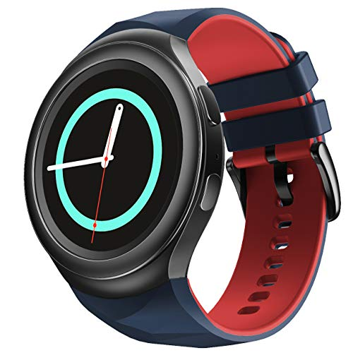 NotoCity Compatible con Samsung Gear S2 Pulsera de Silicona Correa de Reloj de Repuesto Deportivo para Samsung Gear S2 Smartwatch SM-R720 SM-R730(Pizarra roja,S)