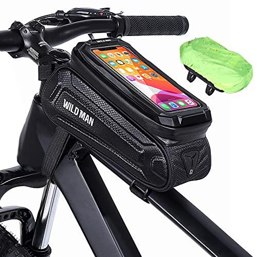 KTUEOV Bolsa Móvil Bicicleta Cuadro Impermeable Bolsa Manillar Bicicleta Montaña con Pantalla Táctil y Cubierta de Lluvia Bolsa Bici Cuadro de Gran Capacidad para Telefono de hasta 6.7 Pulgada (Negro)