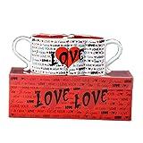 LYQZ Amore Coppe Pair, Tazze di Ceramica, Tazze di caffè, Modelli Coppia, Amore di Forme di Cuore, Regali di Compleanno di Alta qualità