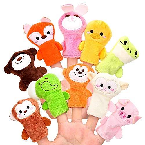Xrten 10 Pcs Animales de Dedos, títeres muñecos Marionetas de Dedo para niños Bebe