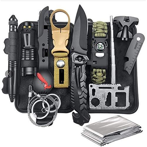 Kit de sobrevivência militar para atividades ao ar livre 13 em 1 ferramentas de acampamento faca de sobrevivência multiuso SOS Adventure