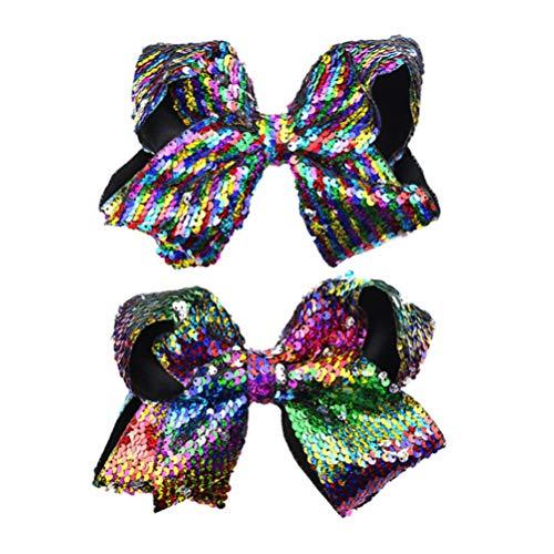 Lurrose Boutique Bling Sparkly Pailletten Haar Strikken Haarspeldjes Metaal Haar Snap Clips voor Meisjes 2 STKS