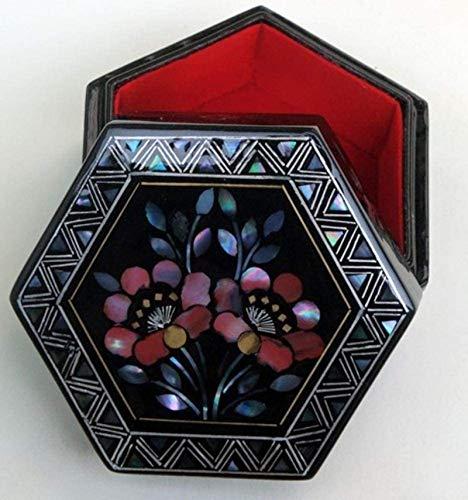 Jewelry Box for Women, Caja de joyería china, caja de almacenamiento pintado laca artesanía caja de joyería, madera lacada y espejo de madera duplicado joyería de joyería de langosta Trinket de tesoro
