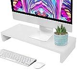 Elevador de Monitor de Computadora, Soporte de Monitor de Madera, Soporte para Organizador de Escritorio para Computadora Portátil Levantador de Pantalla LCD para Oficina 50 x 20 x 7.7cm(Blanco)