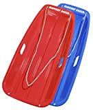 Slippery Racer Downhill Sprinter Snow Sled (2 Pack), Red/Blue