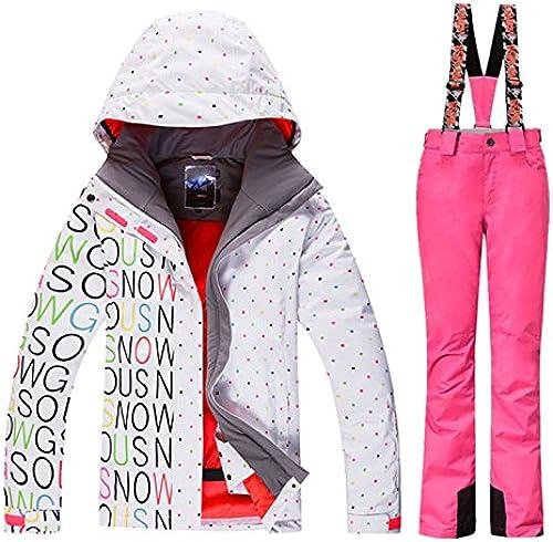 YFF Combinaison de Ski Imperméables Pantalons Femmes Veste de Ski Snowboard Neige Hiver Montagne VêteHommests