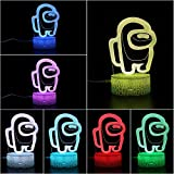 3D Illusion Table Lamp, 7 Colors Illusion Night Light Among Us Game Table Lamp,USB Powered 7 Color LED lamp with Touch Switch Children Gift Bedroom Decoration