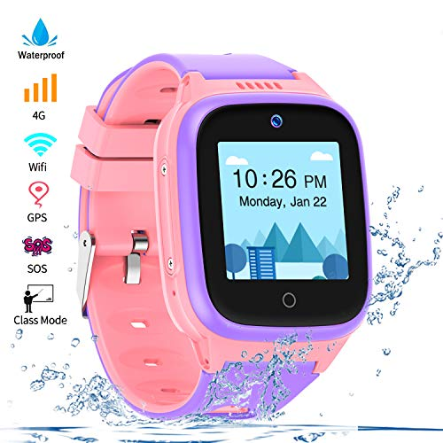 Vowor 4G Smartwatch for Kids with Sim Card, Waterproof Phone Watch with WiFi LBS GPS Tracker Video Chat SOS Camera Alarm Clock Anti Lost Watches Children Boys Girls Birthday Gift Age 3-15 (Pink)