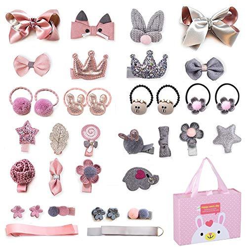 Tuoco 36 Stück Haarspangen für kleine Mädchen, Haarspangen, Haarspangen für Kleinkinder, Haarspangen, Haarschmuck, Geschenkbox für Mädchen, Babys, Kindergeburtstagsgeschenk