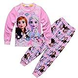 Conjunto de Pijama para niñas Frozen Snow Princess Aisha Anna Patrón de Dibujos Animados de Anime Imprimir Manga Larga + Pantalones Homewear Conjunto 2 Piezas