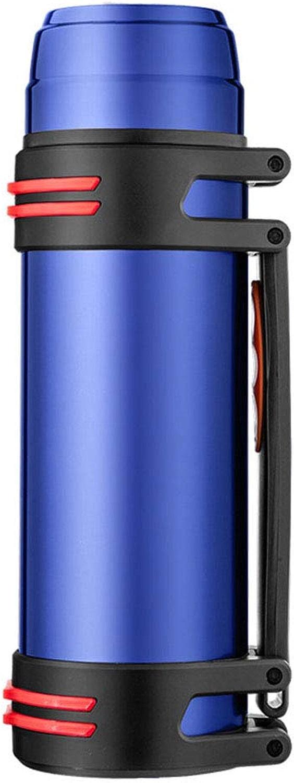 YANWE Vide à Double Couche sous Vide en Acier Inoxydable, portable De Grande Capacité, Extérieur, Voiture, Pot De Voyage à Domicile (2.2L),bleu