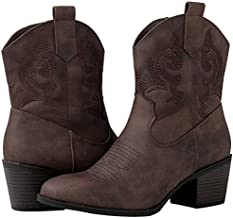 GLOBALWIN Women's 19YY16 Brown Mid Calf The Western Fashion Boots 9M
