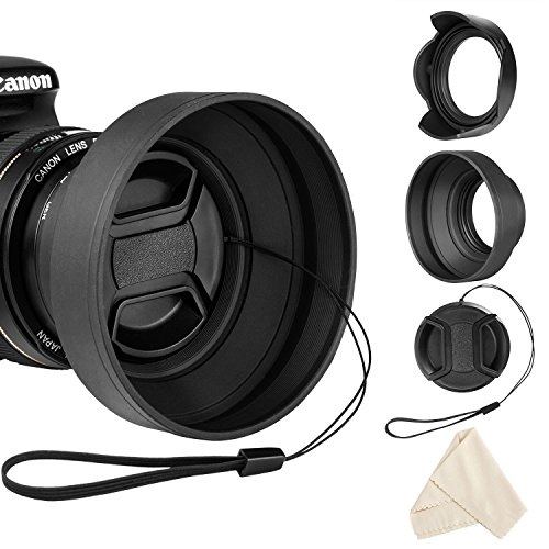 Veatree 58mm Lens Hood Set, Collapsible Rubber Lens Hood with Filter Thread + Reversible Tulip...