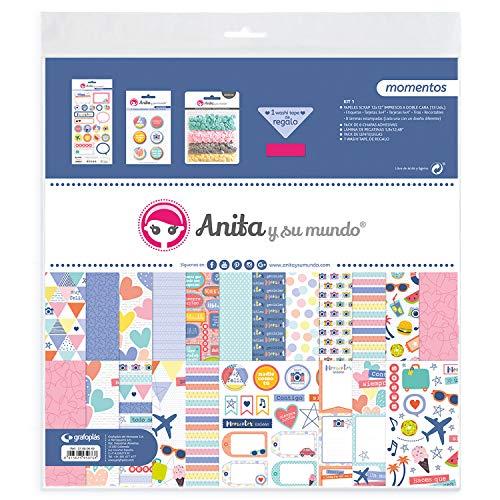 Anita y Su Mundo Momentos Kit Bolsa Scrapbooking, Multicolor