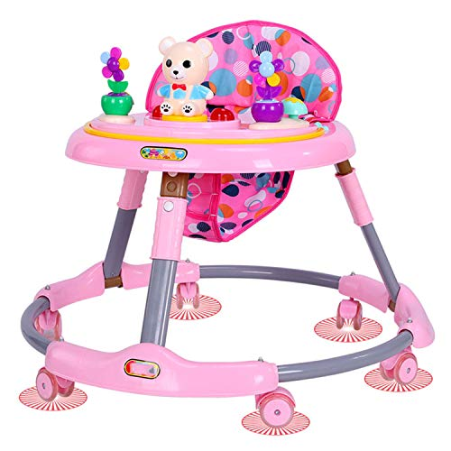 AJAMQ Mother And Me Primi Passi, Stand Learning Walker, Girello Antirollio con Cintura Multifunzione Musica Music Baby Walker 2 in 1,Rosa