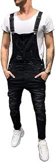 Fansu Salopette da Uomo con Jeans, Tuta di Jeans Strappati Moda Lavaggio Rotto Tasca Pantaloni Reggicalze Pantaloni Casual...